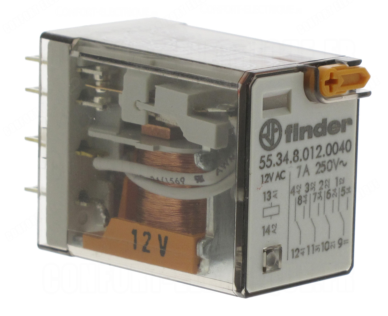 relais miniature 12 volts ac 4 contacts 7 amp res 7 36. Black Bedroom Furniture Sets. Home Design Ideas