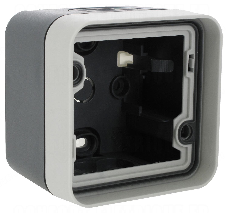 boitier saillie 1 poste hager cubyko composable gris 2 48. Black Bedroom Furniture Sets. Home Design Ideas