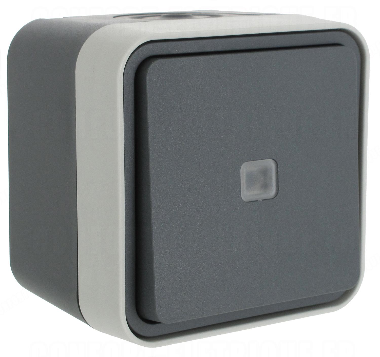 bouton poussoir lumineux no 10a hager cubyko saillie complet. Black Bedroom Furniture Sets. Home Design Ideas