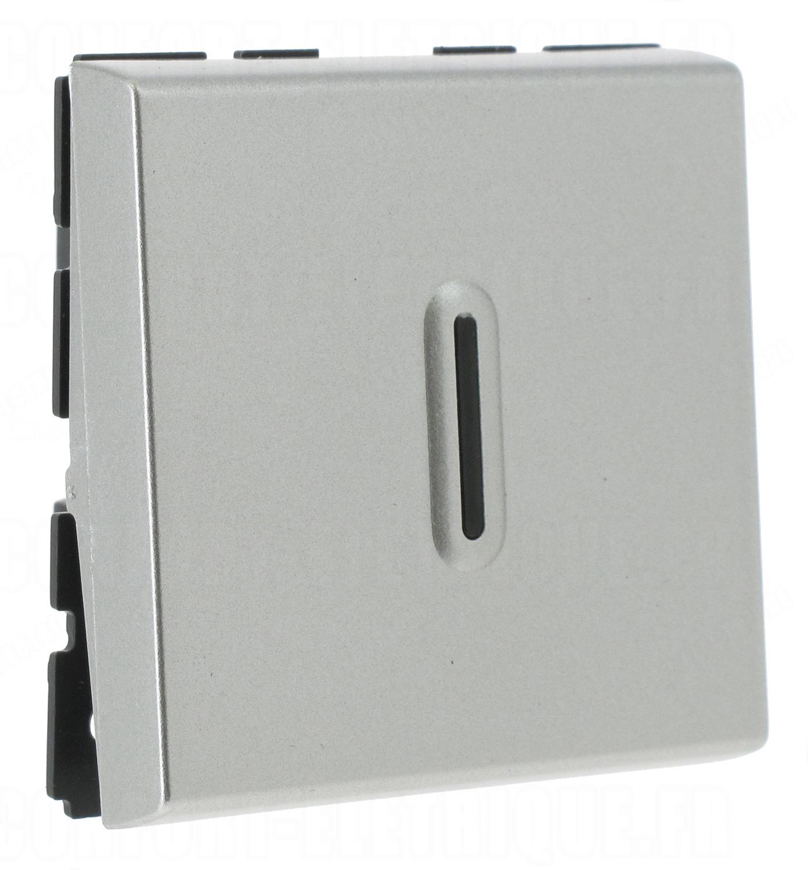 bouton poussoir 2 modules voyant legrand mosaic aluminium. Black Bedroom Furniture Sets. Home Design Ideas