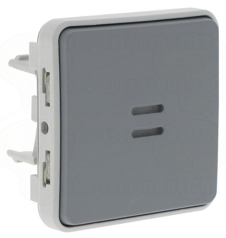 bouton poussoir lumineux legrand plexo 55 gris composa. Black Bedroom Furniture Sets. Home Design Ideas