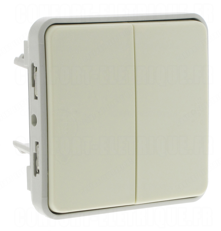 bouton poussoir double legrand plexo 55 blanc composab. Black Bedroom Furniture Sets. Home Design Ideas