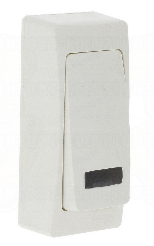 bouton poussoir voyant saillie troit complet blanc 17 5. Black Bedroom Furniture Sets. Home Design Ideas