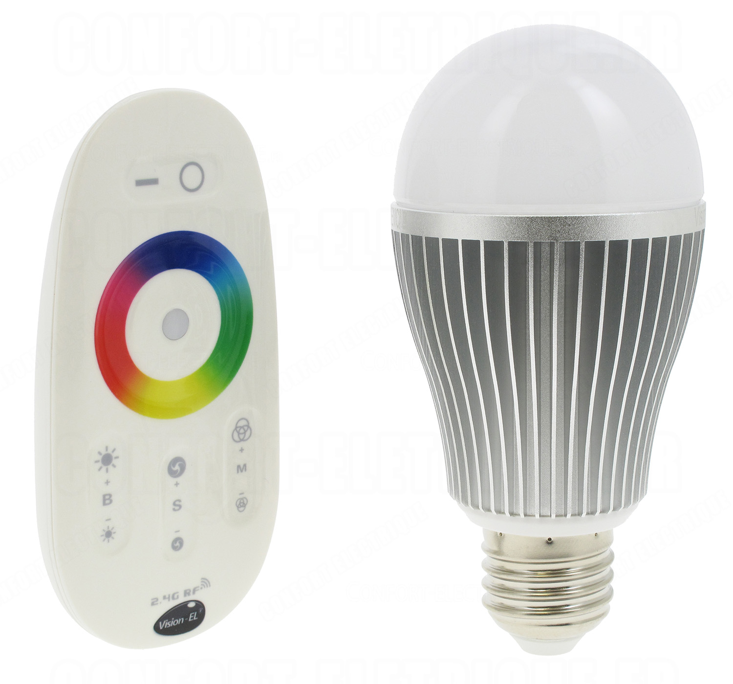 ampoule led vision el e27 8w rgb bulb avec t l. Black Bedroom Furniture Sets. Home Design Ideas