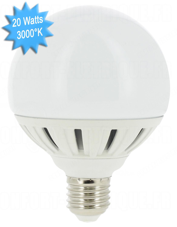 ampoule led vision el e27 globe 20w 3000k 230 volts 12 7. Black Bedroom Furniture Sets. Home Design Ideas