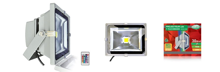 projecteur ext rieur led vision el 30w rgb gris. Black Bedroom Furniture Sets. Home Design Ideas