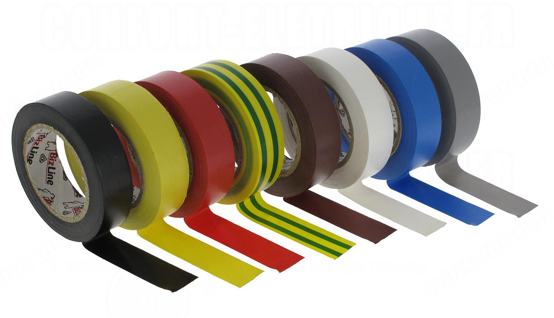 ruban adh sif lectricien en rouleau pack de 8 couleurs 13. Black Bedroom Furniture Sets. Home Design Ideas