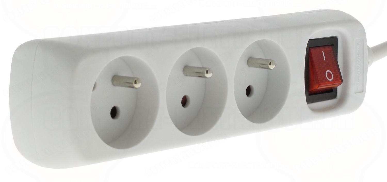 rallonge multiprise 3 prises 2p t avec inter et cable de 1. Black Bedroom Furniture Sets. Home Design Ideas