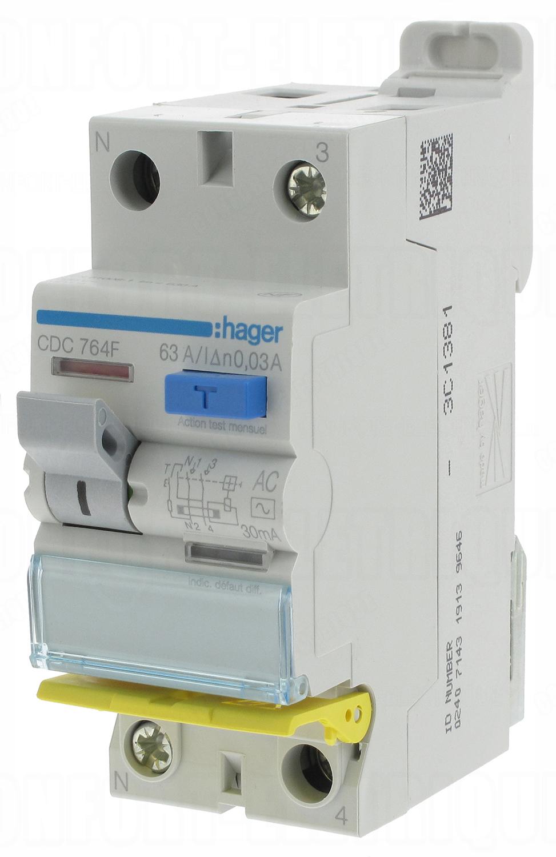 Interrupteur diff rentiel hager 63a 30 ma 2 p les ty - Differentiel type a ou ac ...