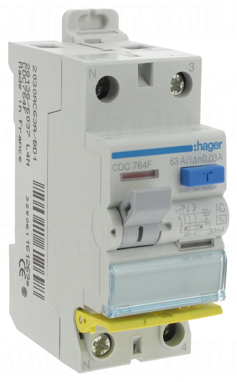 63a interrupteur diff/érentiel hager 30 ma type a 2 p/ôles bd vis // vis