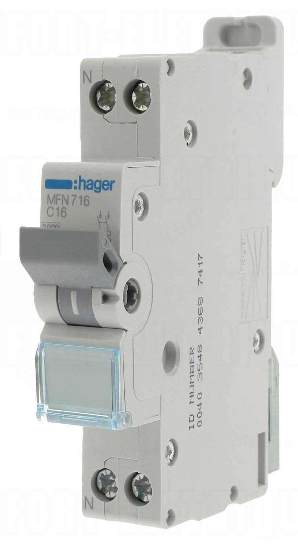 Disjoncteur 16a 3ka courbe c phase neutre hager vis 17 7 - Disjoncteur courbe c ...
