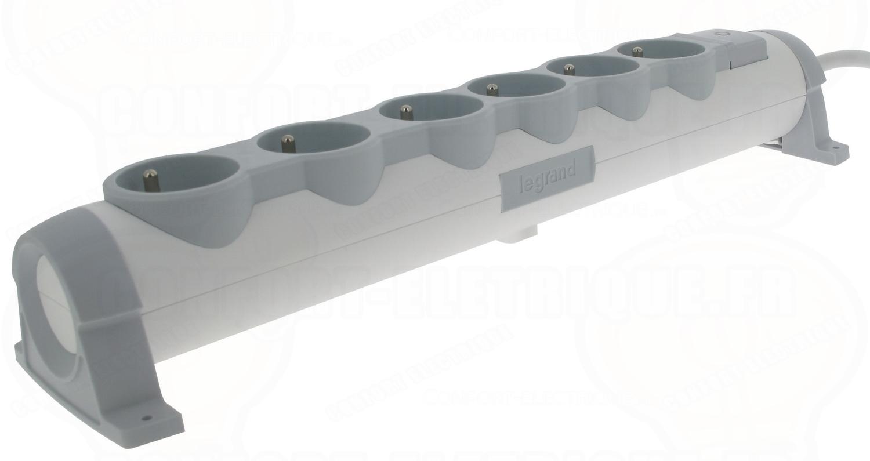 rallonge multiprise 6 prises 2p t avec inter et cable de 1. Black Bedroom Furniture Sets. Home Design Ideas