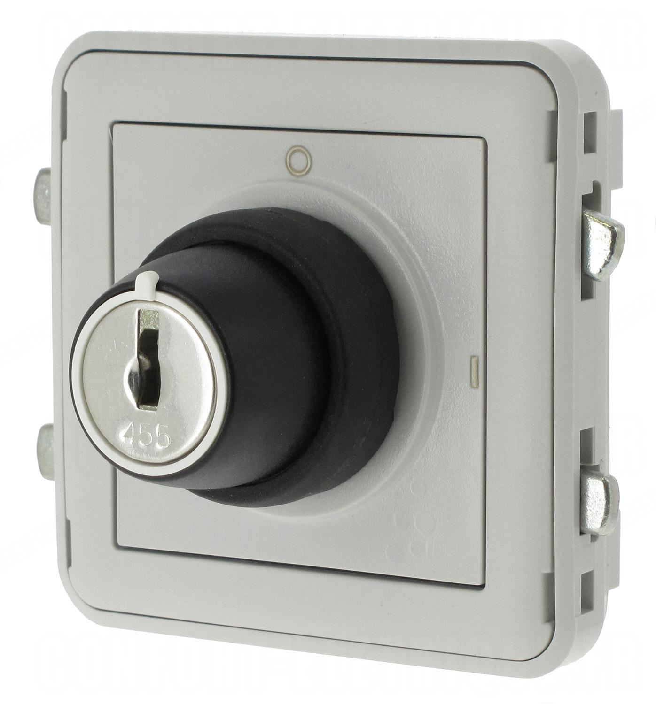 interrupteur cl 2 positions legrand plexo 55 gris c. Black Bedroom Furniture Sets. Home Design Ideas