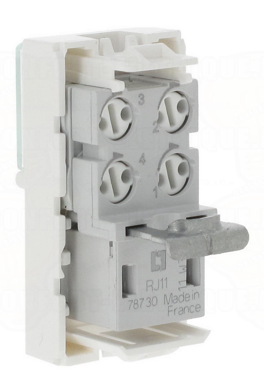 Prise t l phone rj 11 1 module legrand mosaic 12 04 for Branchement prise telephone 4 fils
