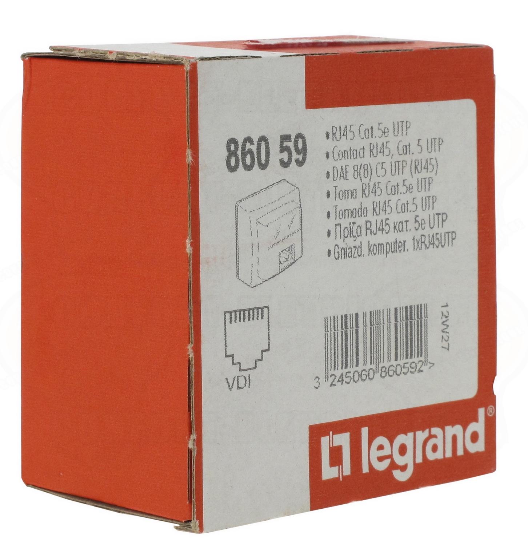 Prise RJ45 catégorie 5 UTP appareillage saillie complet blanc Legrand 86059