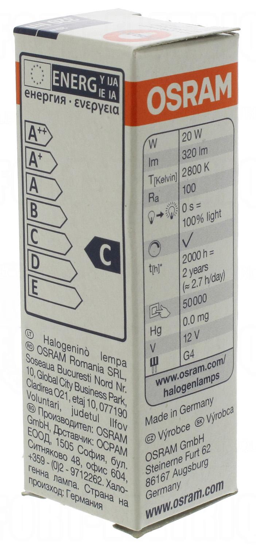 Ampoule halog ne osram halostar g4 20w 2800k 12v t10 - Ampoule g4 20w ...