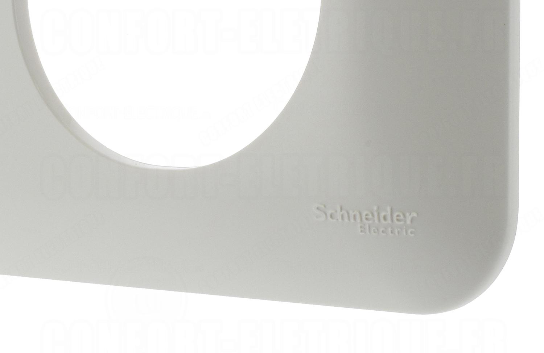 Plaque double horizontale entraxe 71mm Schneider Ovalis blanc S260704