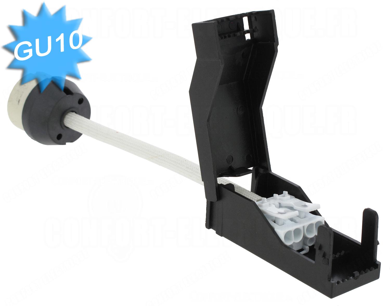 douille culot gu10 en c ramique avec bloc de connexion autom. Black Bedroom Furniture Sets. Home Design Ideas