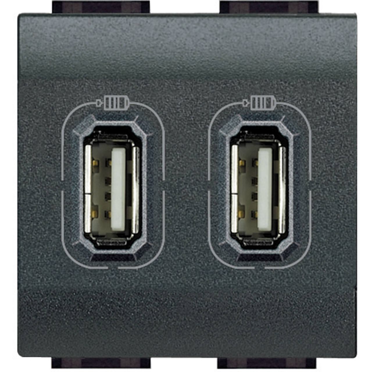 Chargeur usb 230v 5v 2 ports 2 modules bticino living anthra for Bticino living