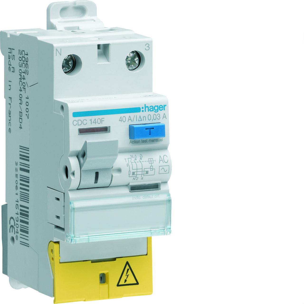 Interrupteur diff rentiel hager 25a 10 ma 1 p le neu - Differentiel type a ou ac ...
