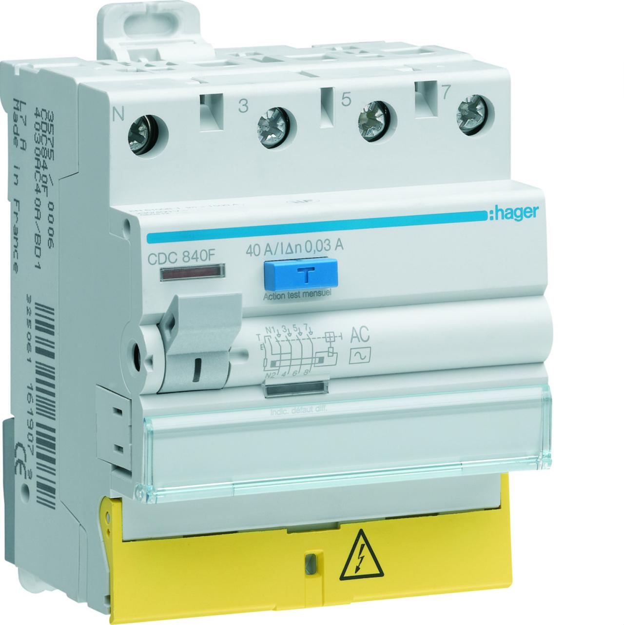 Interrupteur diff rentiel hager 40a 30 ma 3 p les ne - Differentiel type a ou ac ...