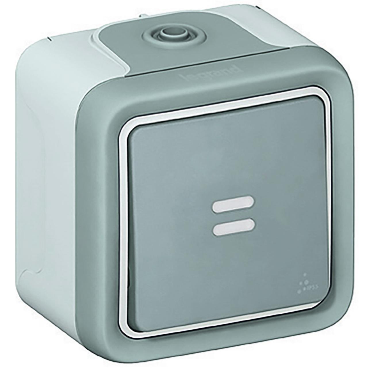bouton poussoir lumineux legrand plexo 55 gris complet. Black Bedroom Furniture Sets. Home Design Ideas
