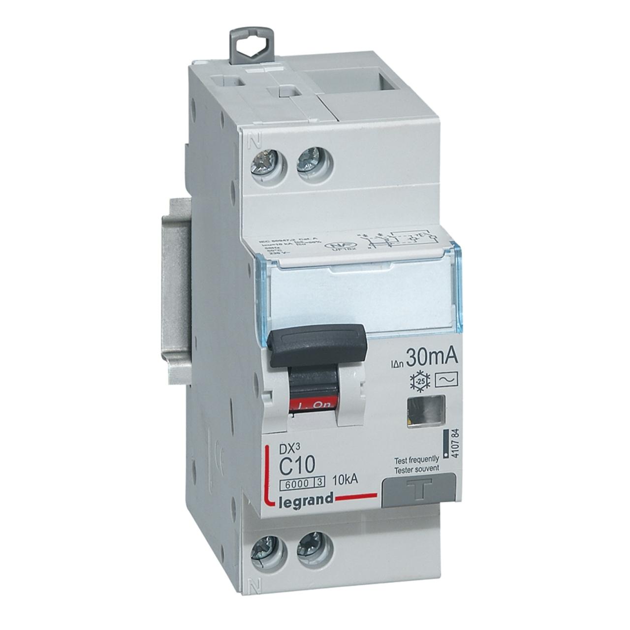 Disjoncteur diff rentiel legrand dx3 10a courbe c 30ma 2 pol - Differentiel type a ou ac ...