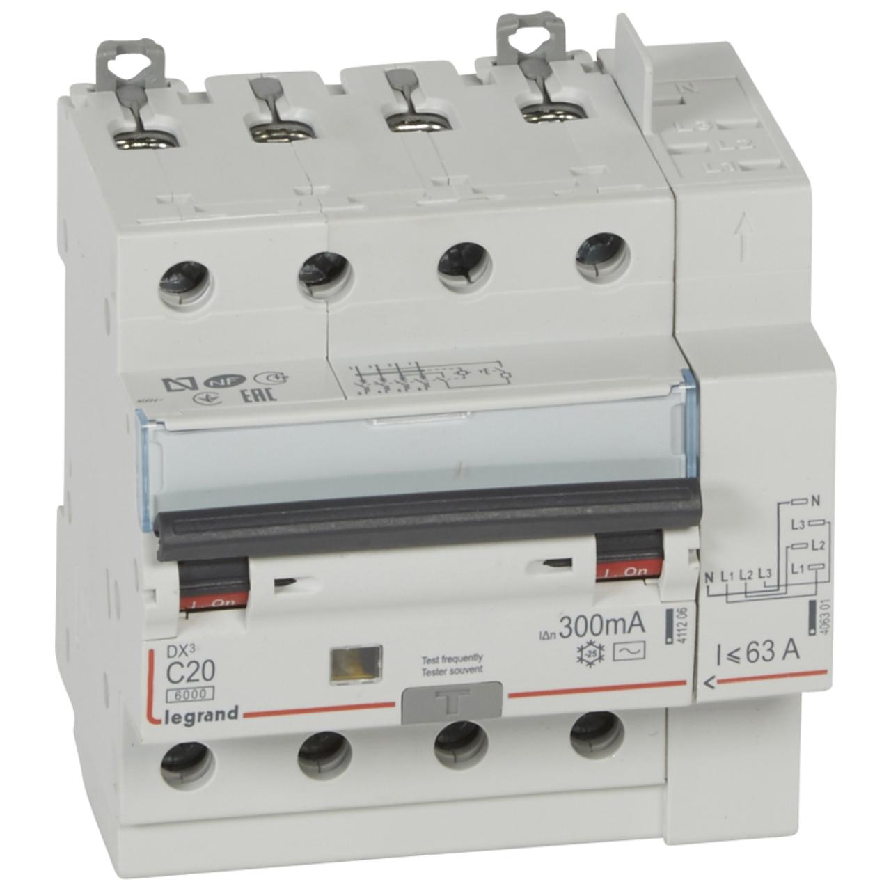 Disjoncteur différentiel Legrand DX3 20A courbe C 300mA 4 Poles type AC -  Vis   Auto 8f66837fb87e