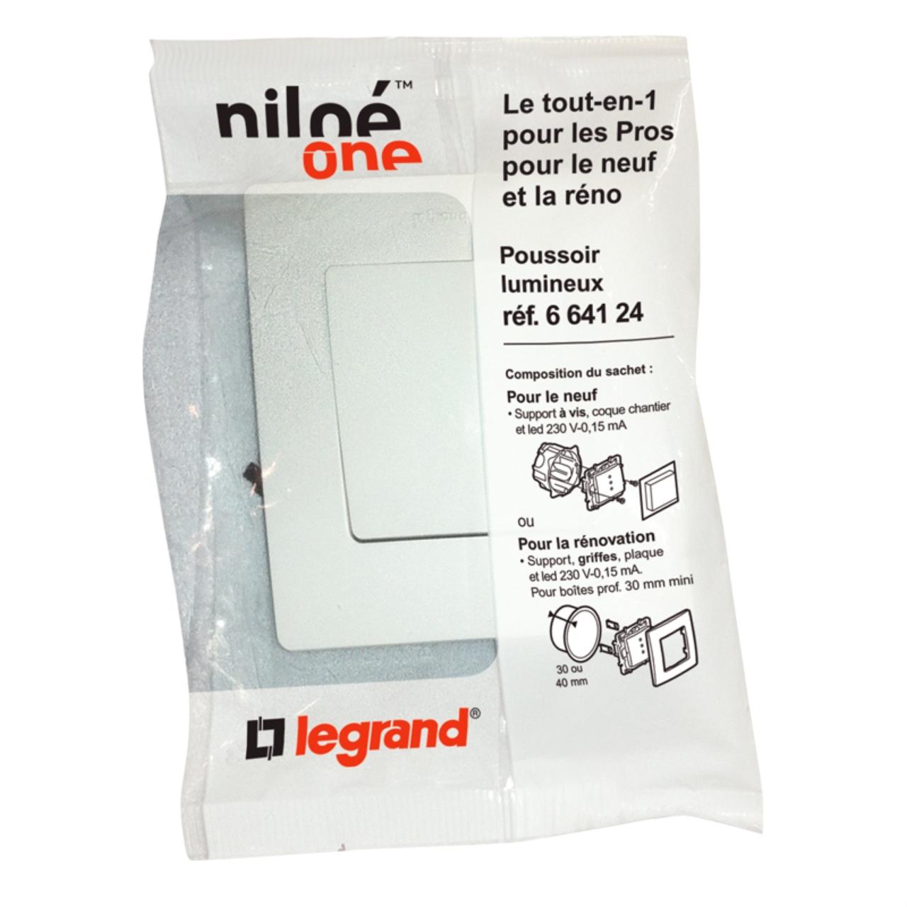 bouton poussoir lumineux legrand niloe pur complet 11 87. Black Bedroom Furniture Sets. Home Design Ideas