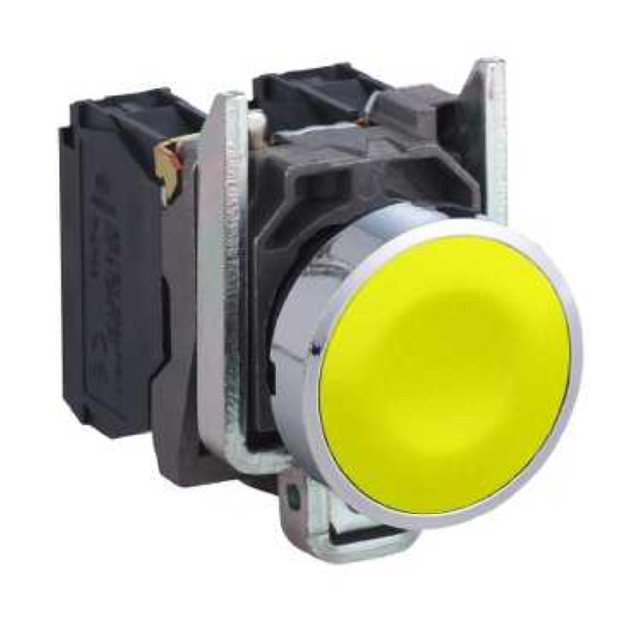 bouton poussoir affleurant 1 no jaune complet schn. Black Bedroom Furniture Sets. Home Design Ideas