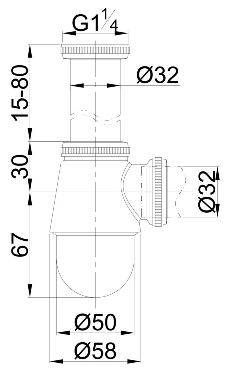 Siphon De Bidet Laiton Chrome Petit Culot 33 X 42 Al