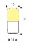 Lampe Miniature - Culot B15D - 220 à 260 Volts - 5 à 7 Watts - Tube 16 x 35 - Par 5 - ABI - Aurora AB45805