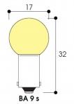 Lampe Miniature - Culot BA9S - 3.6 Volts - 3.6 Watts - Sphérique 17 x 32 - XENON - ABI - Aurora AC3071XE