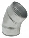 Coude à 45 degrés diamètre 100 mm en acier galvanisé