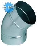 Coude à 45 degrés diamètre 160 mm en acier galvanisé