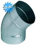 Coude à 45 degrés diamètre 80 mm en acier galvanisé