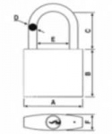Cadenas de condamnation avec anse en aluminium - 38 mm - Rouge