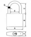 Cadenas de condamnation avec anse en aluminium - 75 mm - Rouge