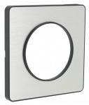 Plaque Schneider Electric Odace Touch - 1 poste - Aluminium brossé - Liseré Anthracite