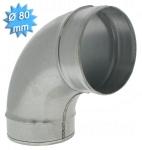 Coude à 90 degrés diamètre 80 mm en acier galvanisé