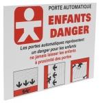 Panneau ENFANTS DANGER pour porte et portail automatique