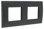Plaque 2 + 2 modules Bticino Living Light Anthracite Carré