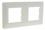 Plaque 2 postes horizontal, entraxe de 71 mm Hager Essensya blanc