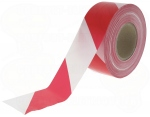 Ruban de délimitation chantier rouge et blanc 75mm 500 mètres