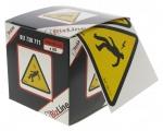 Etiquettes autocollantes homme foudroyé 100x100mm en boite de 20