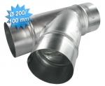 Té à 45 en galva diamètre 200/200/100 mm