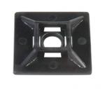 Embase adhésive ou à visser 28 x 28 mm noir