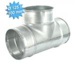 Té à 90 en galva diamètre 125/125/100 mm