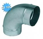 Coude à 90 degrés diamètre 100 mm en acier galvanisé