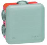 Boite de dérivation étanche 100 x 100 x 55 mm Legrand Plexo gris et rouge